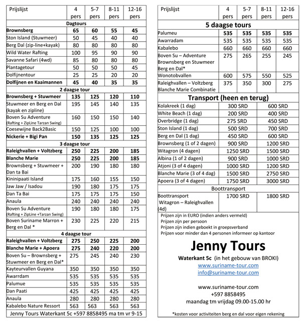 prijzen Jenny Tours